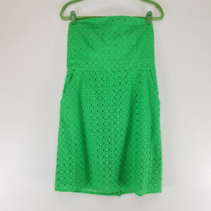 New York & Company Strapless Eyelet Dress Green